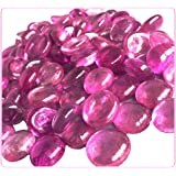 """MagicWater Supply Pink Flat Marble Glass Gems - 2 LB (Pound) - Flat Marble Vase Fillers, Table Scatter, Aquarium Décor, Pebbles - Approx. 3/4"""" Diameter (2 Bags)"""