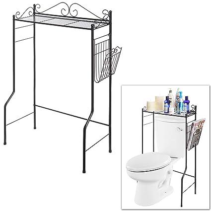 Space Saver Design Metal Storage Organizer Rack/Freestanding Bathroom Shelf  W/Magazine Basket,
