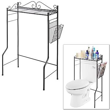 Space Saver Design Metal Storage Organizer Rack / Freestanding Bathroom  Shelf W/ Magazine Basket,