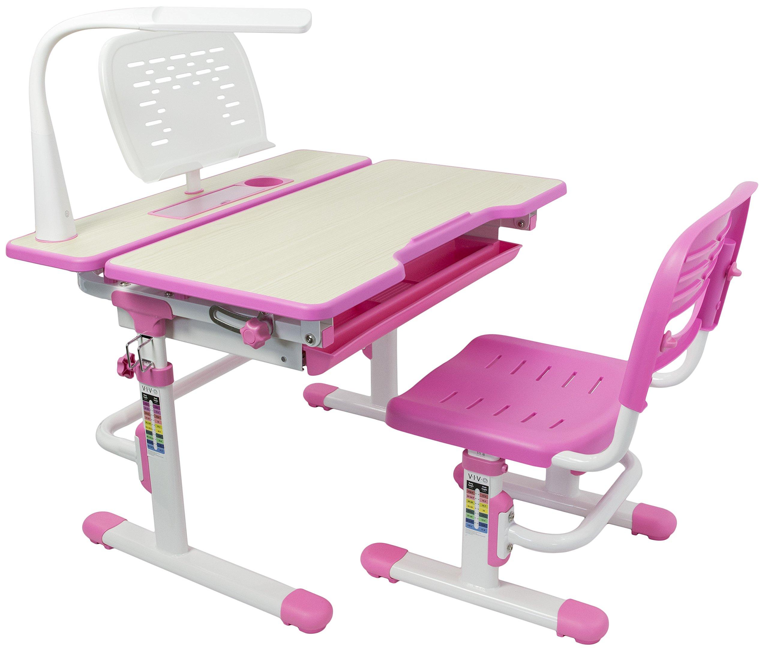 VIVO Deluxe Height Adjustable Children's Desk & Chair Kids Interactive Work Station Pink (DESK-V402P)