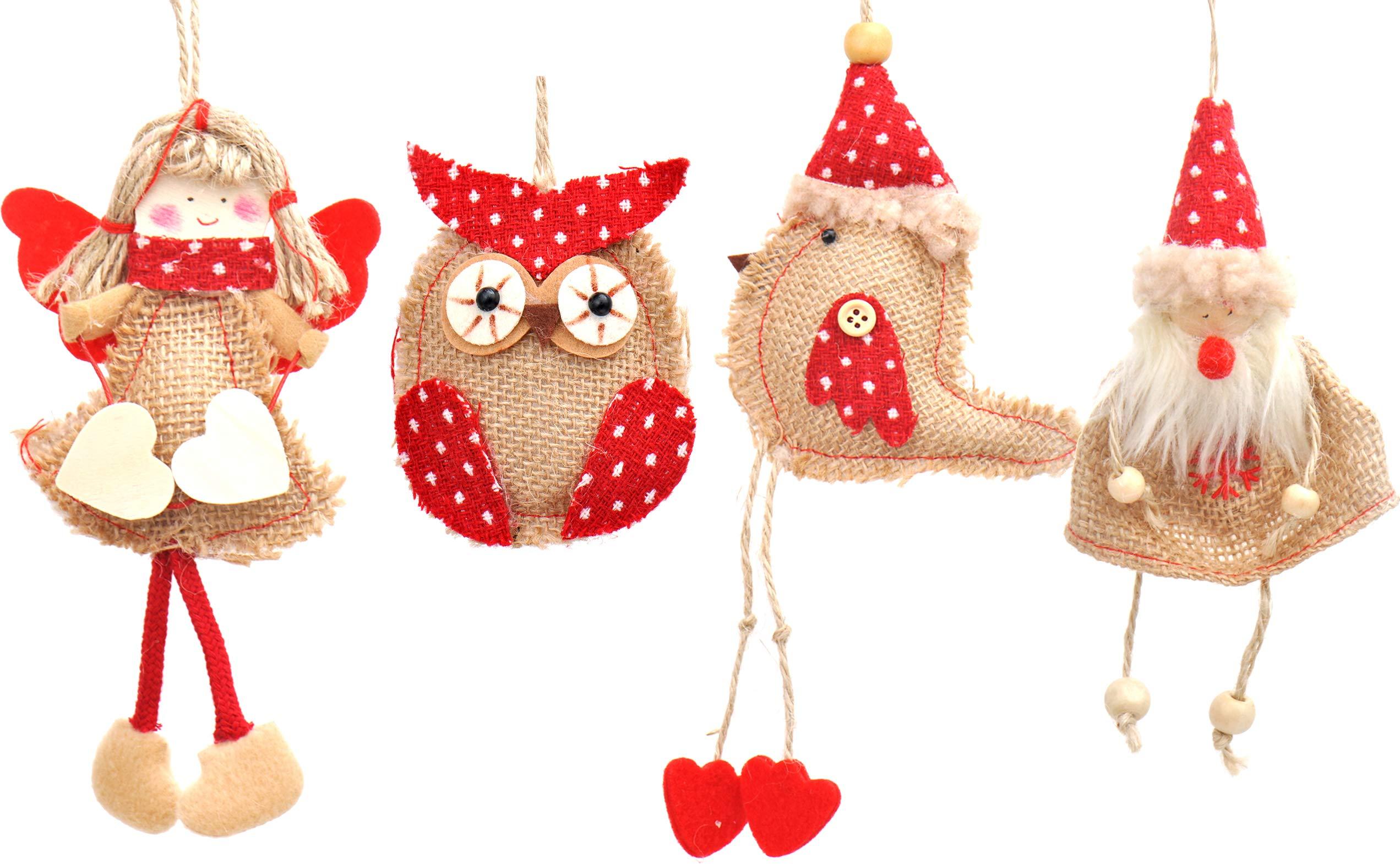 MoShelly Christmas Bell Tree Holiday Party 8pcs Rustic Burlap Owl/Bird/Santa Claus/Angel