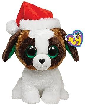 Ty Beanie Boos Presents - Perro de peluche con gorro de navidad (mediano)