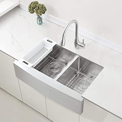 ZUHNE Stainless Steel Double Basin Farmhouse Sink