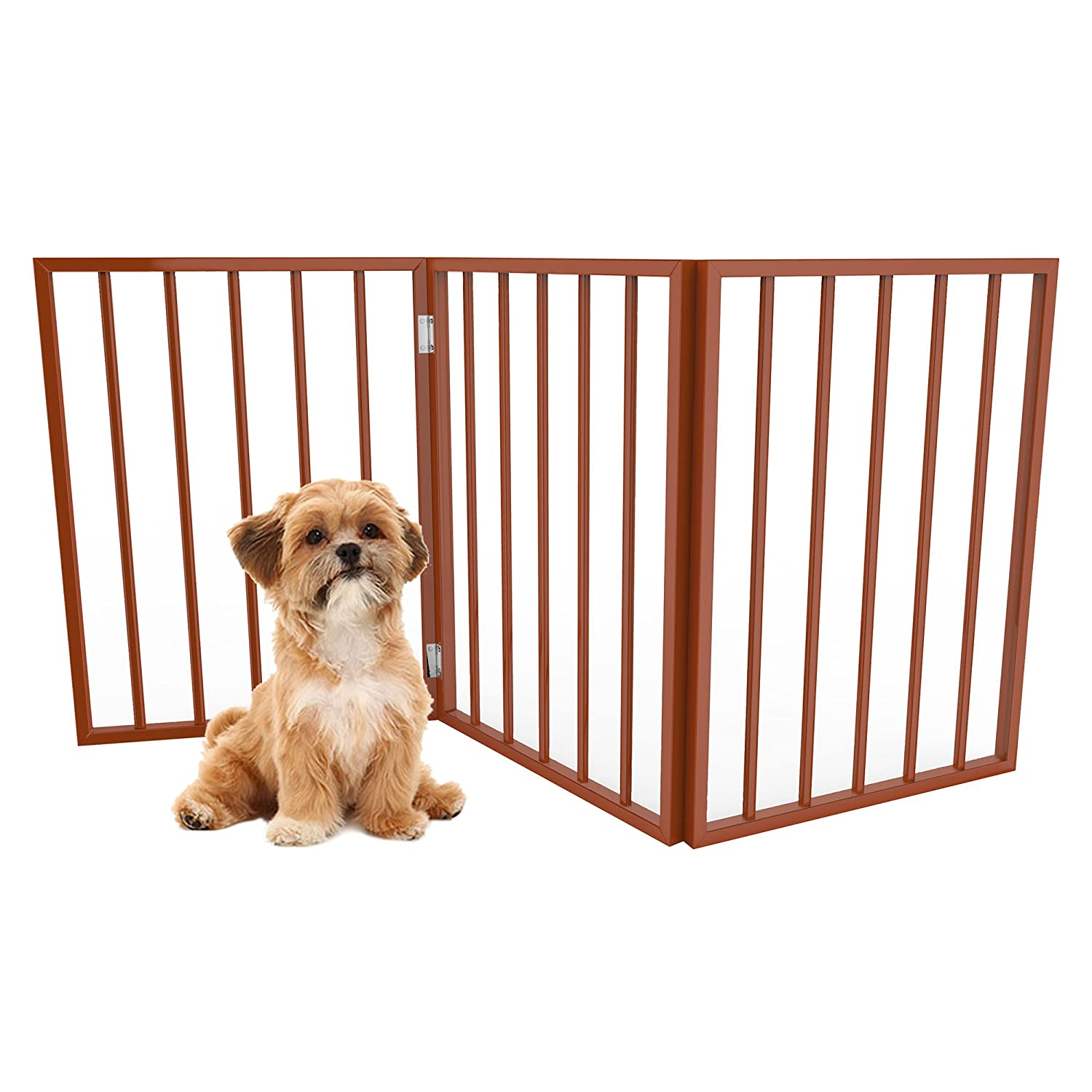 PETMAKER Foldable, Free-Standing Wooden Pet Gate- Light Weight, Indoor Barrier for Small Dogs Cats by Light Brown, 24 Inch Step Over Doorway Fence