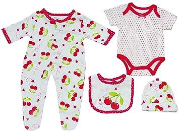 Amazon.com: 4 piezas Cherry Outfit para bebé niña 0 – 3 ...