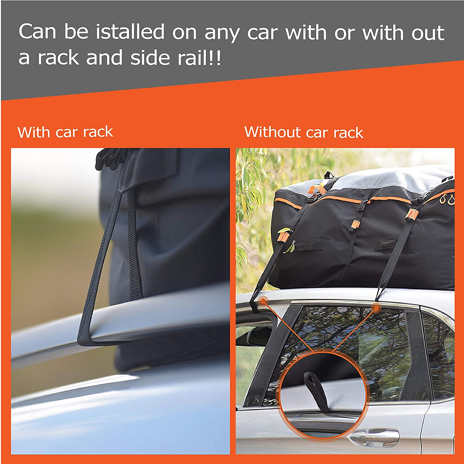 100/% Waterproof Excellent Military Quality Roof-Top Car Bag Fits All Cars With//Without Rack RoofPax Car Roof Bag /& Rooftop Cargo Carrier 4 Door Hooks Included 19 Cubic Feet Heavy Duty Bag