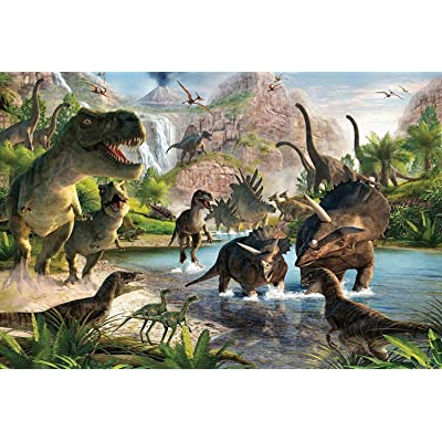7-Mi Jigsaw Puzzles 1000 Pieces for Adults Wooden Jigsaw Puzzle Dinosaur Pattern Kids Educational Game Toys 75x50cm: Toys & Games