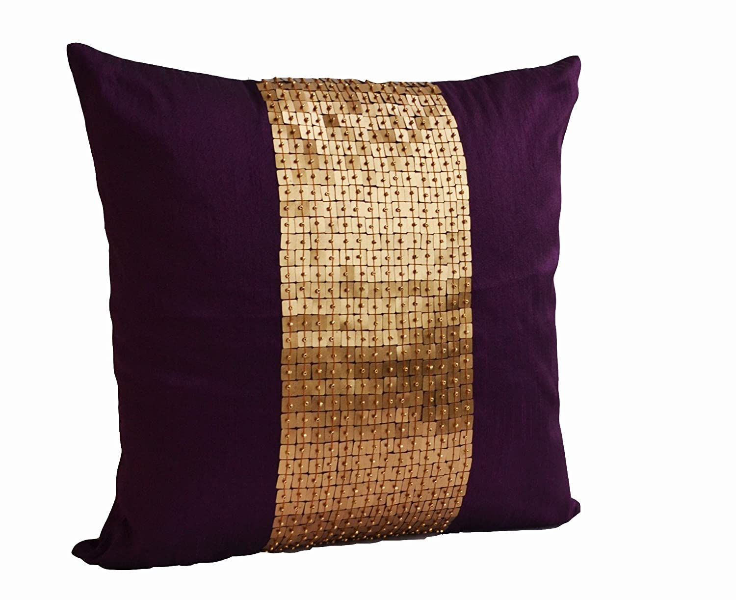 amazoncom amore beaute handmade purple throw pillows covers in  - amazoncom amore beaute handmade purple throw pillows covers in colorblock purple gold color block in art silk with sequin bead detail  cushioncovers