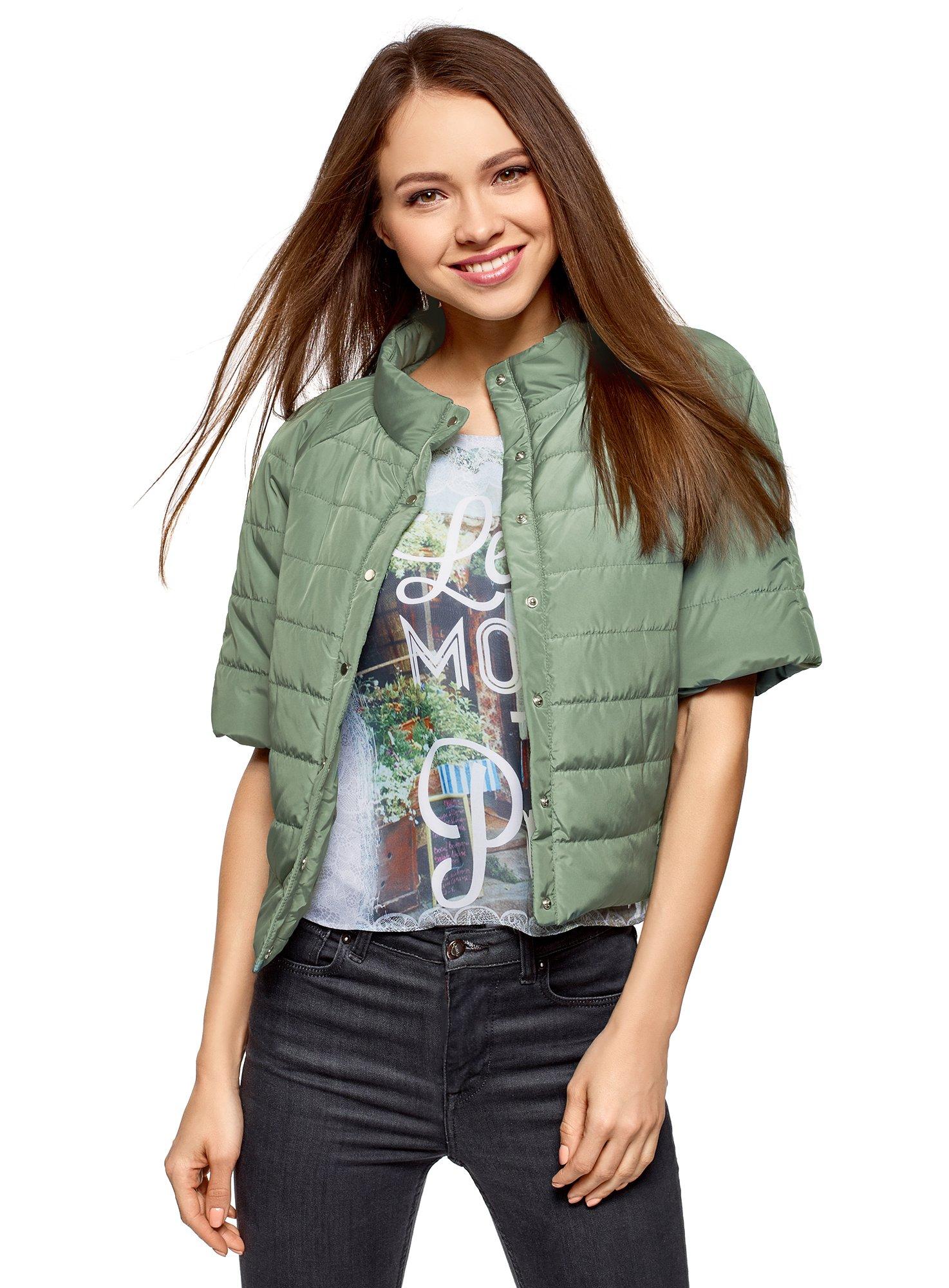 oodji Ultra Women's Short Sleeve Quilted Jacket, Green, 4