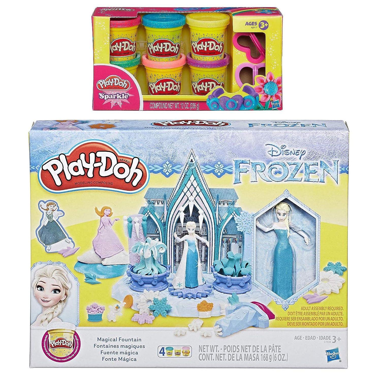 PD Play Doh Disney Frozen Magical Fountain Play Doh Sparkle Compound Bundle