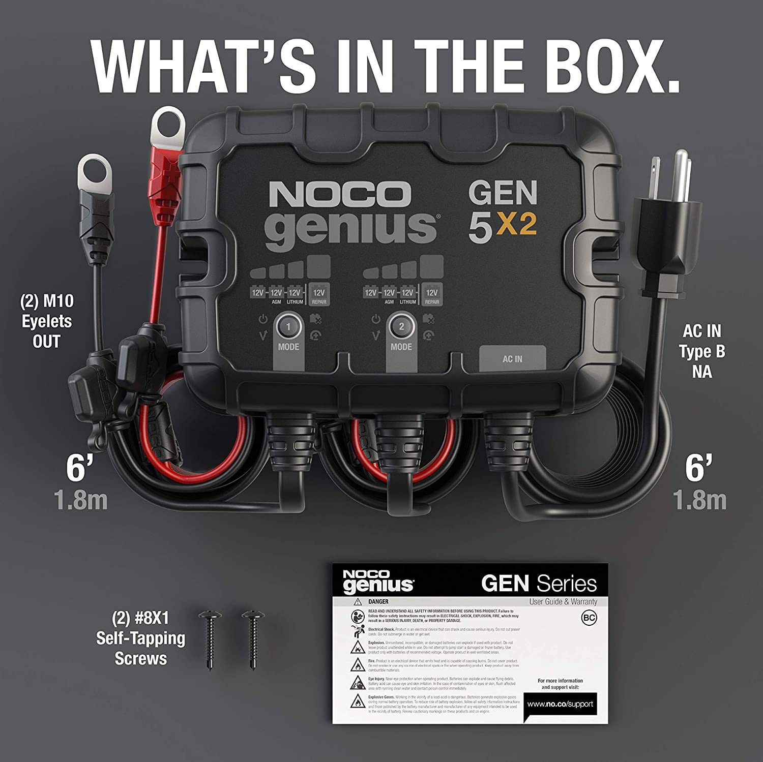 NOCO Genius GEN5X2, 2-Bank, 10-Amp (5-Amp Per Bank) Fully-Automatic Smart Marine Charger, 12V Onboard Battery Charger, Battery Maintainer And Battery Desulfator With Temperature Compensation: Automotive