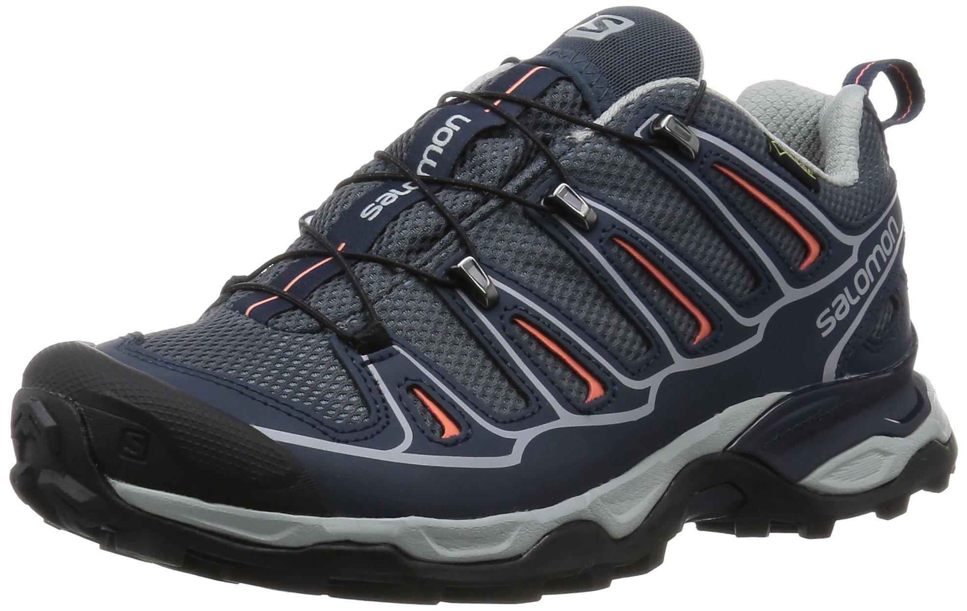 Salomon Women's X Ultra 2 GTX W Hiking Shoe, Grey Denim/Deep Blue/Melon Bloom, 9 M US