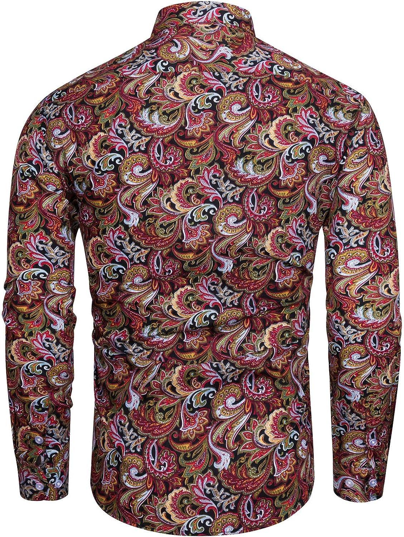fohemr Camisa para Hombre de Corte cl/ásico 100/% algod/ón con Estampado Floral de Paisley