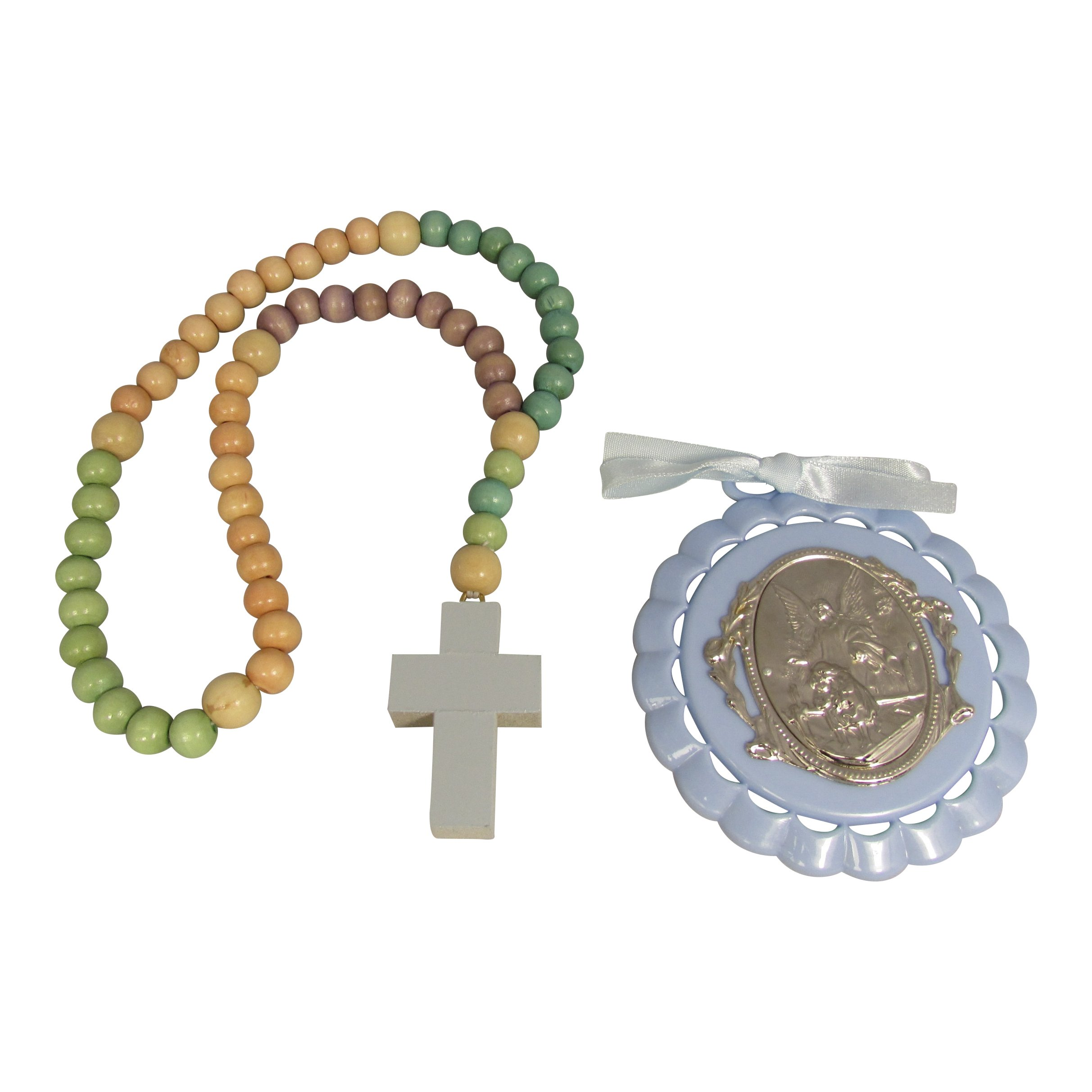 Non Toxic Wooden Kiddie Rosary with 5 Different Colors 21-inch Boxed with Crib Medal, Nice Baby Christening or Nursery Gift (Boys/Blue)