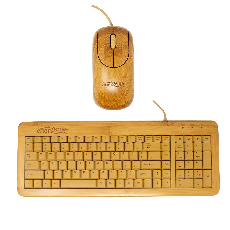Ratón y Teclado USB de Bambú