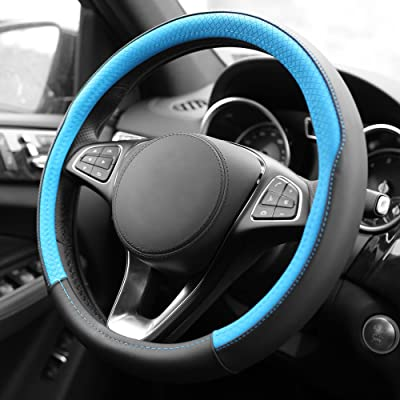 FH Group FH2009BLUE Geometric Chic Genuine Leather Steering Wheel Cover, 1 Pack: Automotive