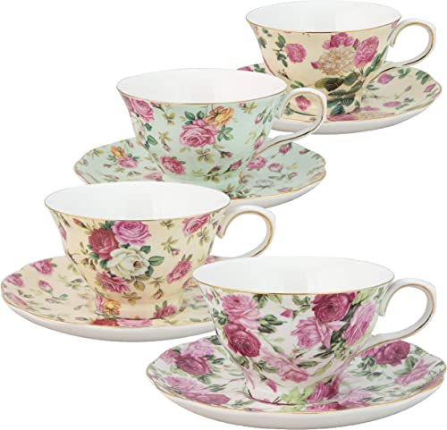 Gracie China by Coastline Imports Rose Chintz 8-Ounce Porcelain Tea Cup