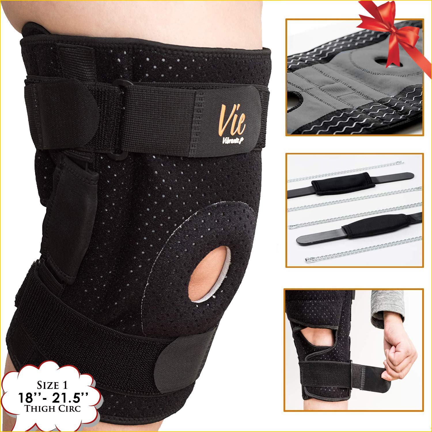 Patella Stabilizing Knee Brace - Newly Engineered Knee Braces with Enhancement on Flexibility, Extra Supportive, Non-Slip and Non Bulky - Vie Vibrante fits 18''-21.5'' Thigh Circumference, Black