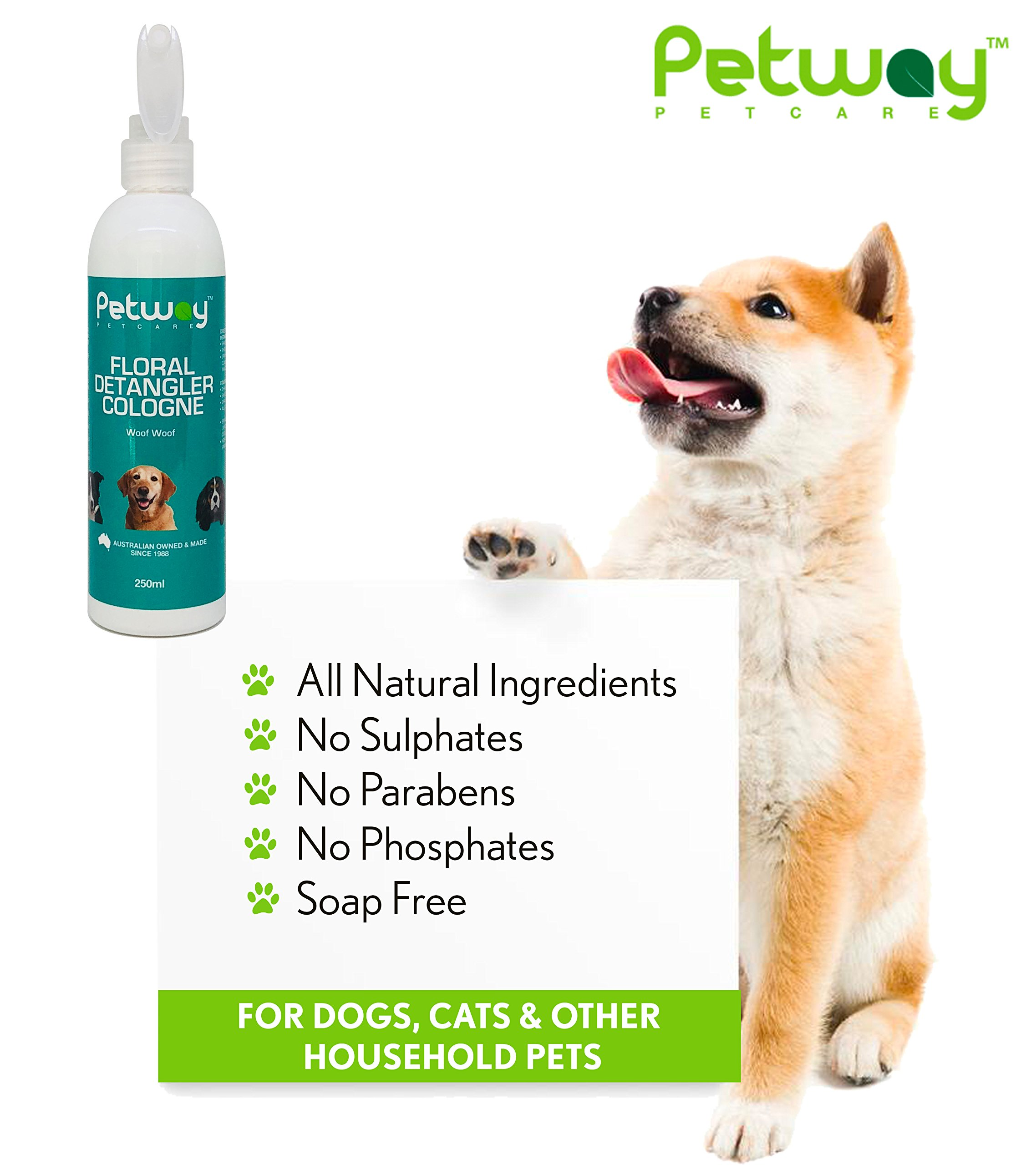 PETWAY Petcare Floral Detangler Cologne – Pet Cologne, Detangling and Dematting Spray with Deodorizing and Conditioning Qualities – Dog Grooming Detangler Conditioner Spray - 250ml by PETWAY (Image #4)