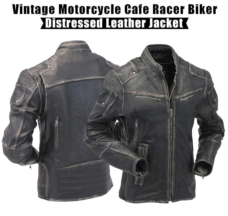 Men's Biker Retro Brown Leather Motorcycle Jacket Genuine