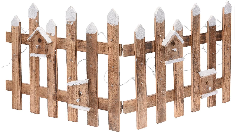 Deko Holz Zaun mit 30 LED 100x40 cm Mini Gartenzaun Winter