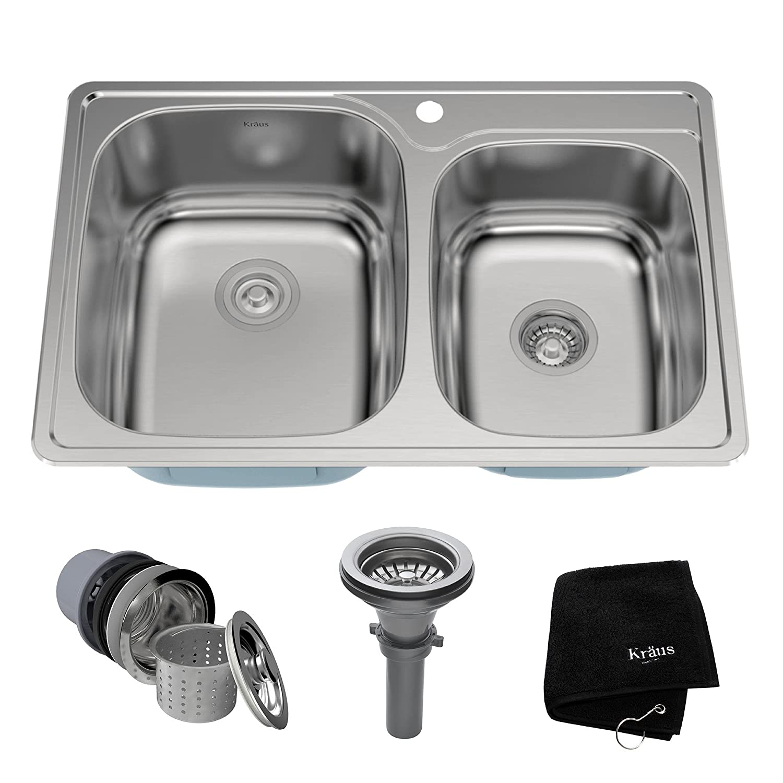 kraus ktm32 33 inch topmount 6040 double bowl 18 gauge stainless steel kitchen sink - Double Kitchen Sink
