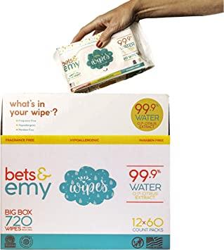 720 Count 12 Packs of 60 Count BETS /& EMY American-Mom Made Baby Wipes 99.9/% Water!
