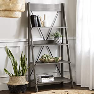 Walker Edison Furniture Company X Back Modern Farmhouse Wood Bookcase Bookshelf Home Office Living Room Storage, 4 Shelves, Grey