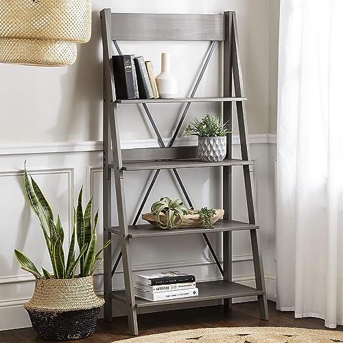 Walker Edison X Back Modern Farmhouse Wood Bookcase Bookshelf Home Office Living Room Storage