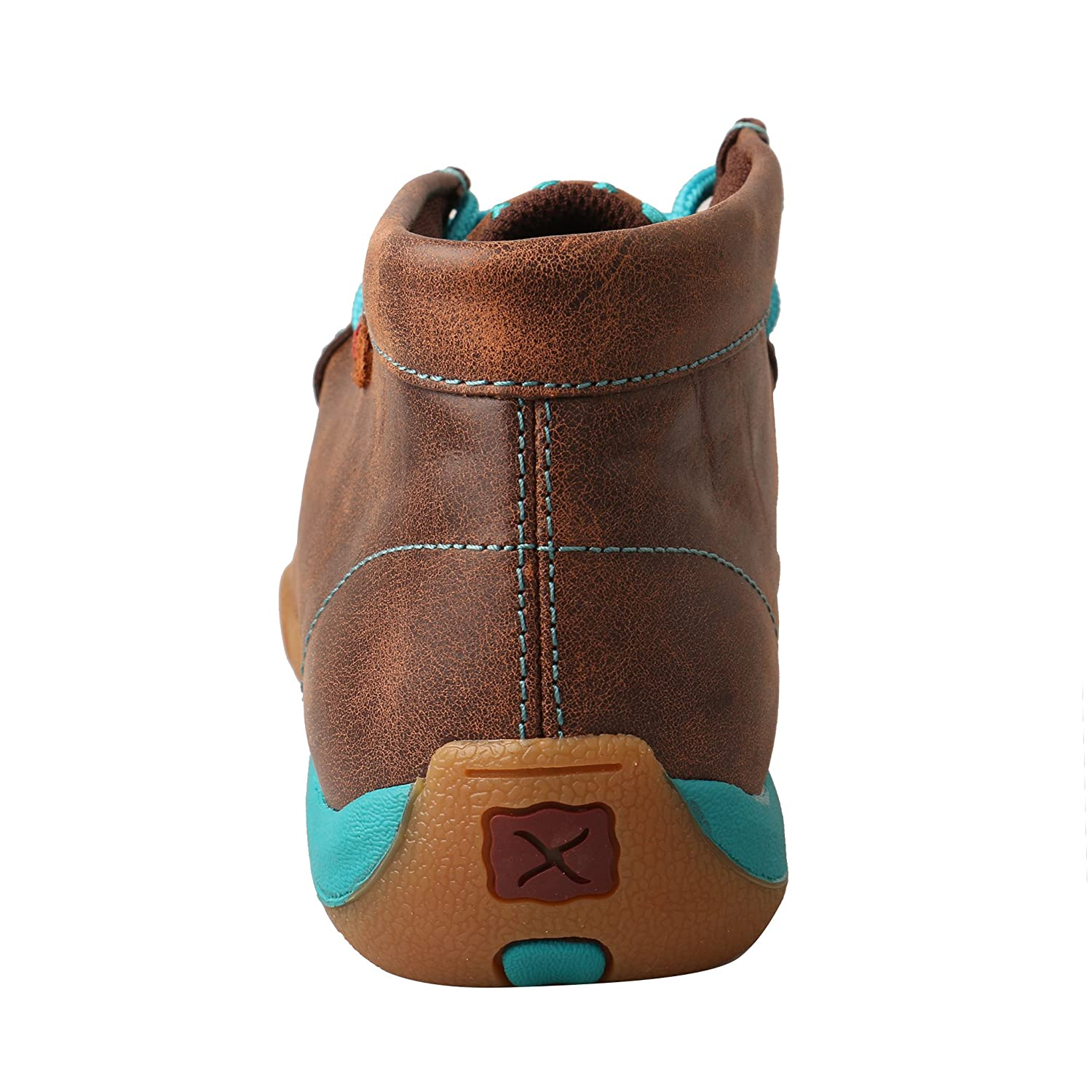 Twisted X Women's Leather Lace-up Rubber Sole Driving Moccasins - Brown/Turquoise B074BPJY6D 8.5 B(M) US|Brown/Turquoise