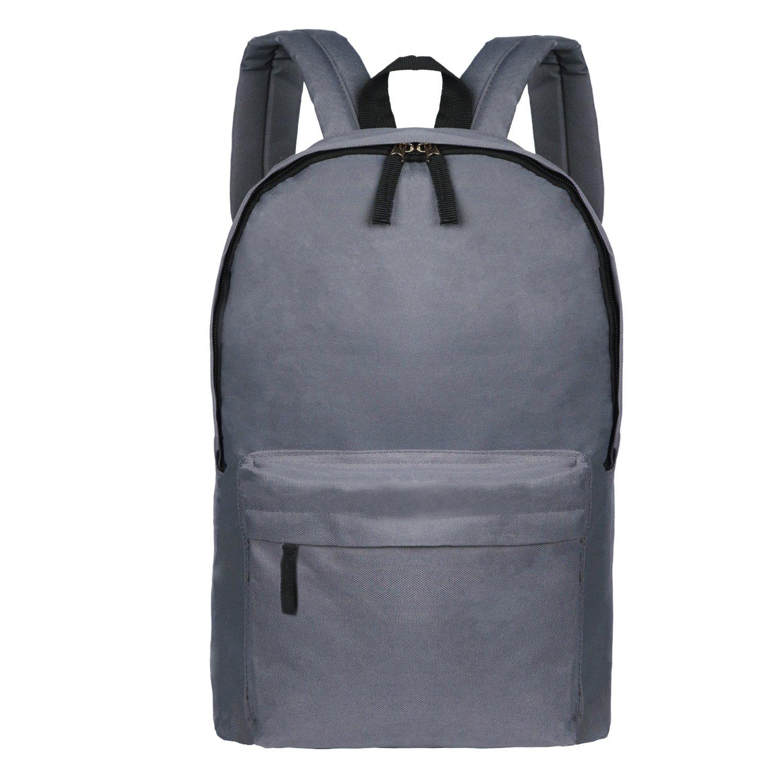 Gray Simple School Bag For Kid Lightweight Utility Elementary Backpack Organizer
