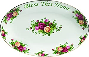 "Royal Albert Old Country Roses Bless This Home Platter, 12"", Mostly White with Multicolored Floral Print"
