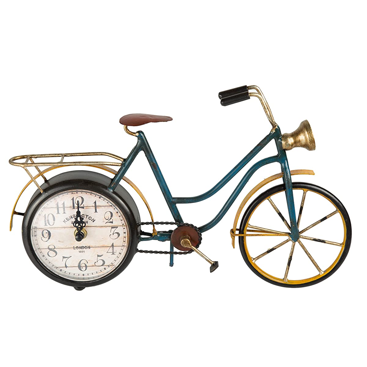 Creative Home 40017 Distressed Metal Clock Retro Bicycle Shape Metal Clock
