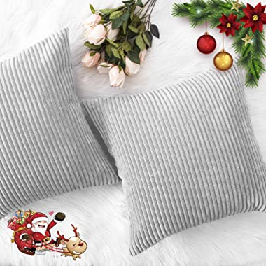 HOME BRILLIANT Thanksgiving Decor Throw Pillows Striped Velvet Cushion Cover for Chair Decorative Pillowcase, Set of 2, Light Grey, 18 x18 (45cm)
