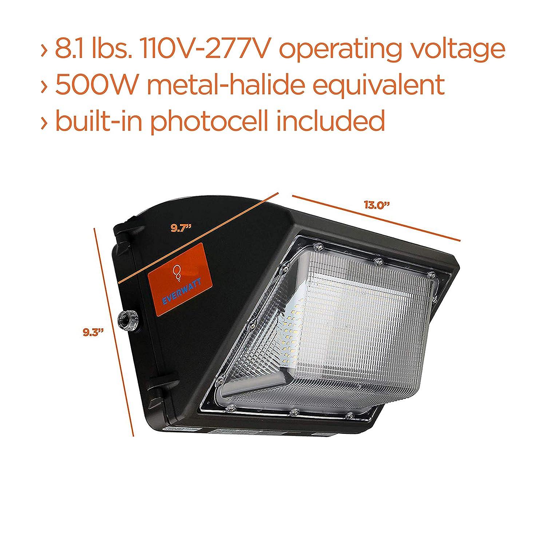 UL /& DLC EverWatt High-Efficiency 600W Metal-Halide Equivalent 13000 Lumens 100W LED Outdoor Wall Pack Light with Photocell Sensor Commercial//Industrial 5000K Warm White Waterproof Easy Mount