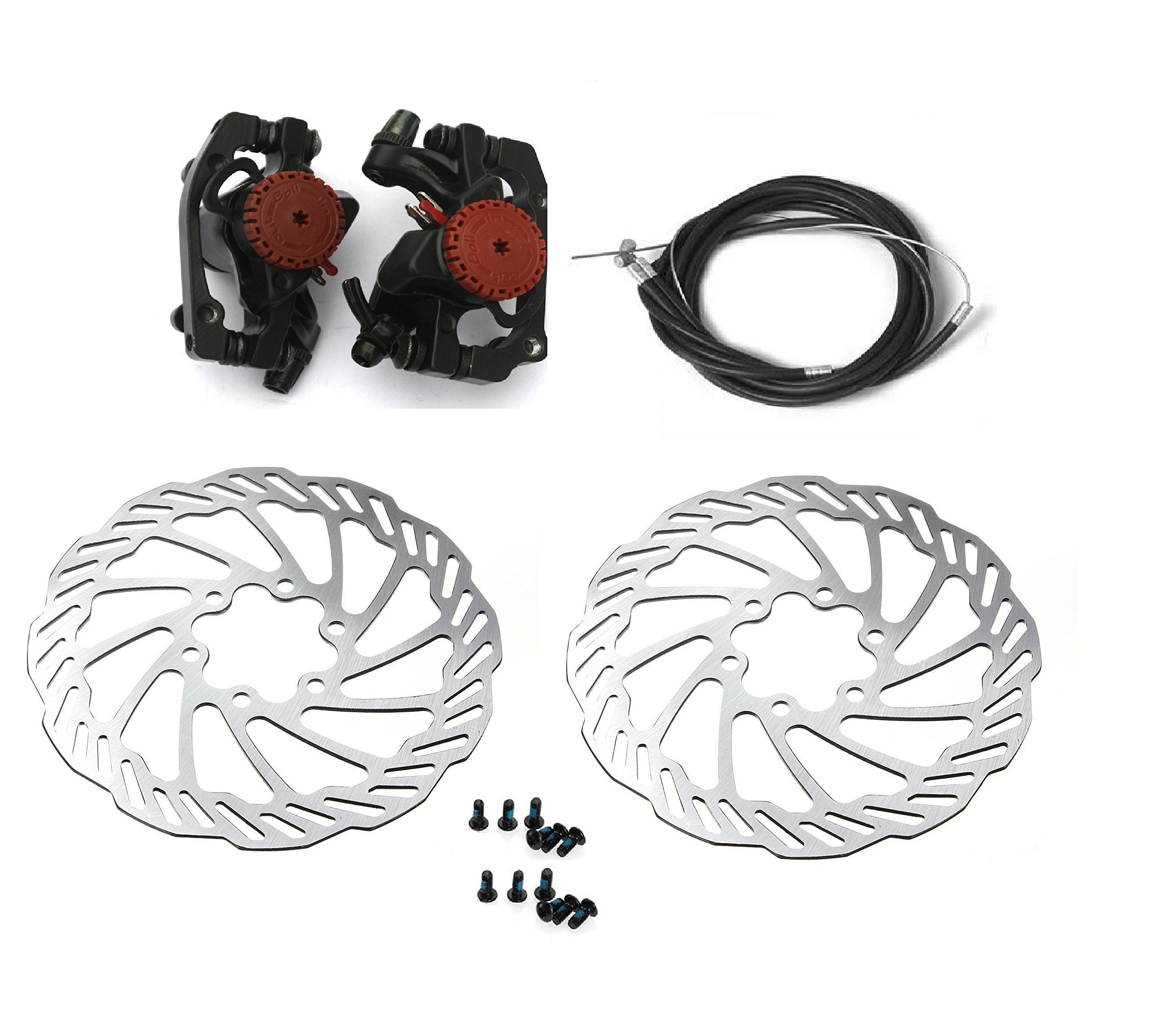 BlueSunshine MTB BB5 Mechanical Disc Brake Front and Rear 160mm whit Bolts and Cable