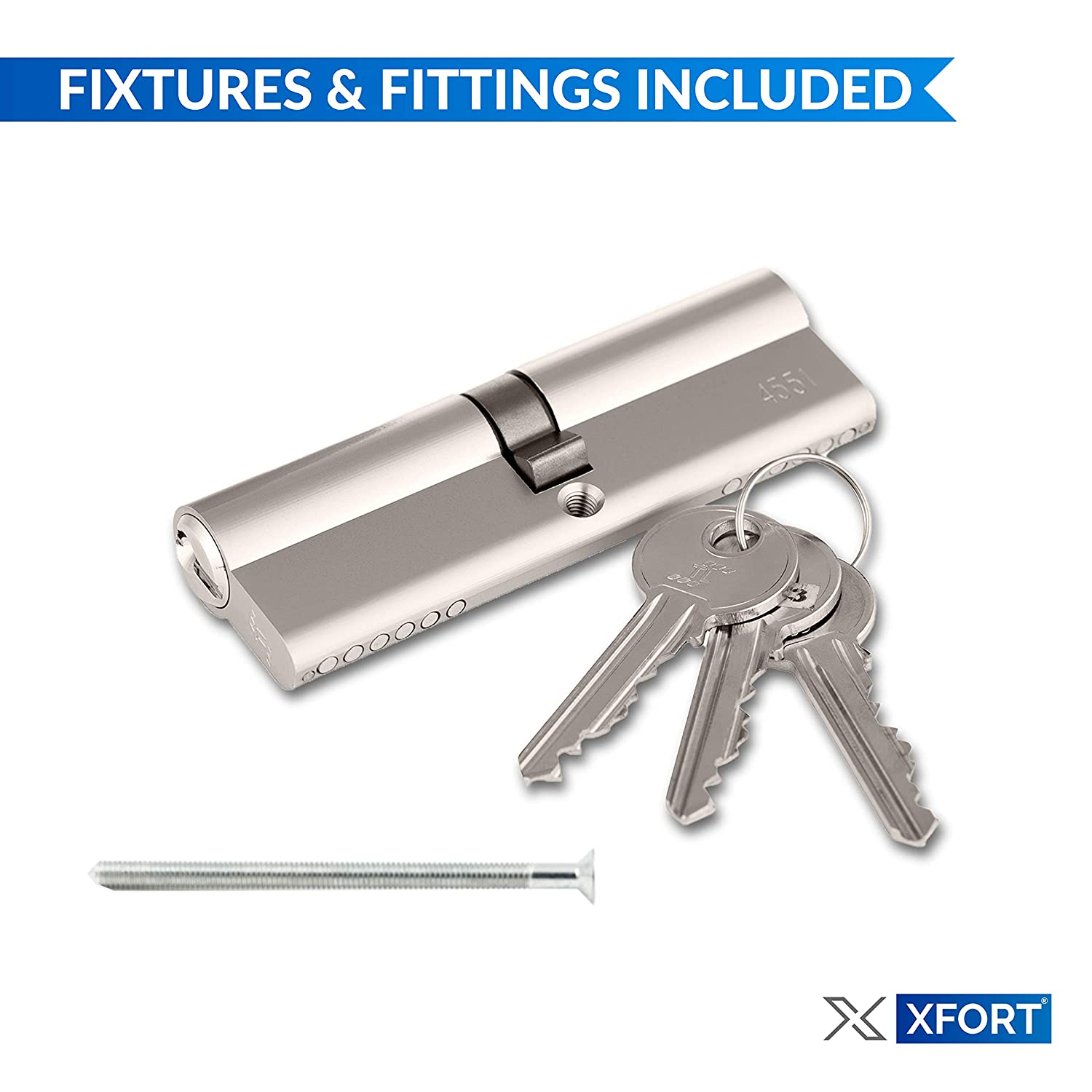 Euro Door Barrel Lock with 3 Keys UPVC and Composite Doors. 95mm XFORT/® Euro Cylinder Lock 45//50 Anti-Drill and Anti-Pick Door Lock with Key to Ensure High Security for Wooden Anti-Bump Metal