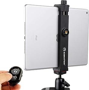 KobraTech iPad Tripod Mount - TabMount 360 - iPad Mount for Tripods with Ball Head & Bluetooth Remote Shutter