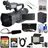 JVC GY-HM170U Ultra 4K HD 4KCAM Professional Camcorder & Top Handle Audio Unit with XLR Microphone + 64GB Card + Battery + LED Video Light + Kit