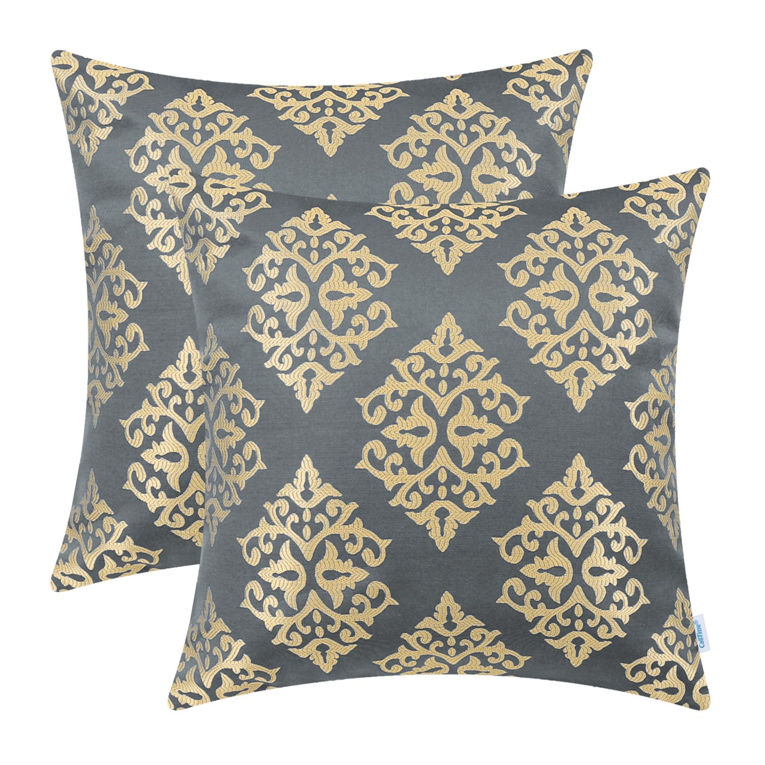 CaliTime Pack of 2 Soft Jacquard Throw Pillow Covers Cases Couch Sofa Home Decoration Vintage Damask Floral 18 X 18 inches Grey Gold