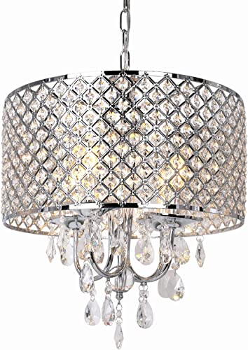 16.5 inch 4-Light Crystal Chandelier Ceiling Light