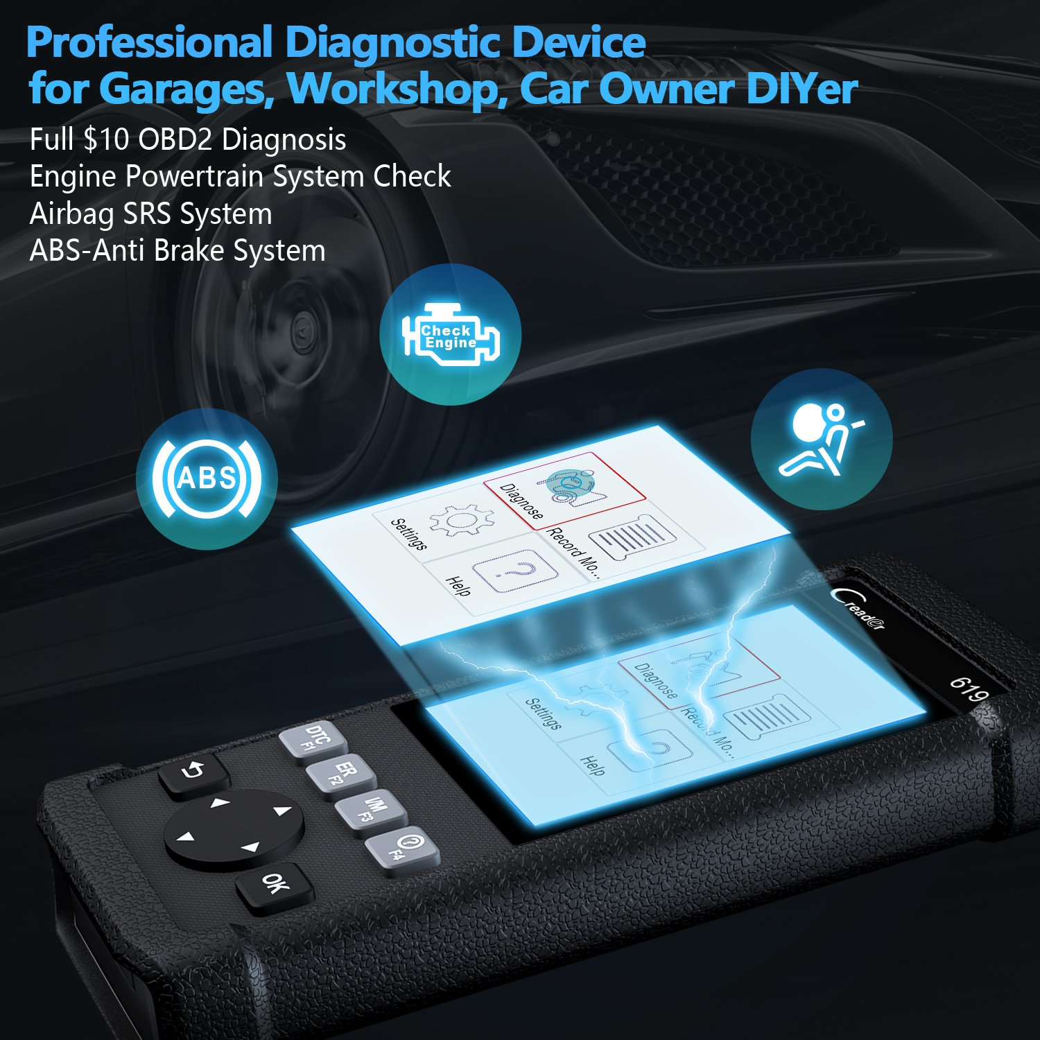 LAUNCH Creader CR619 Automotive ABS SRS Obd2 OBD ii Scanner Check Car Engine ABS Airbag Light Fault Code Readers Auto Dignostic Scan Tool with EVAP O2 On-Board Test by LAUNCH (Image #3)