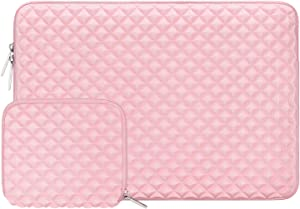 MOSISO Laptop Sleeve Compatible with 13-13.3 inch MacBook Pro, MacBook Air, Notebook Computer, Diamond Foam Neoprene Bag Cover with Small Case, Rose Quartz