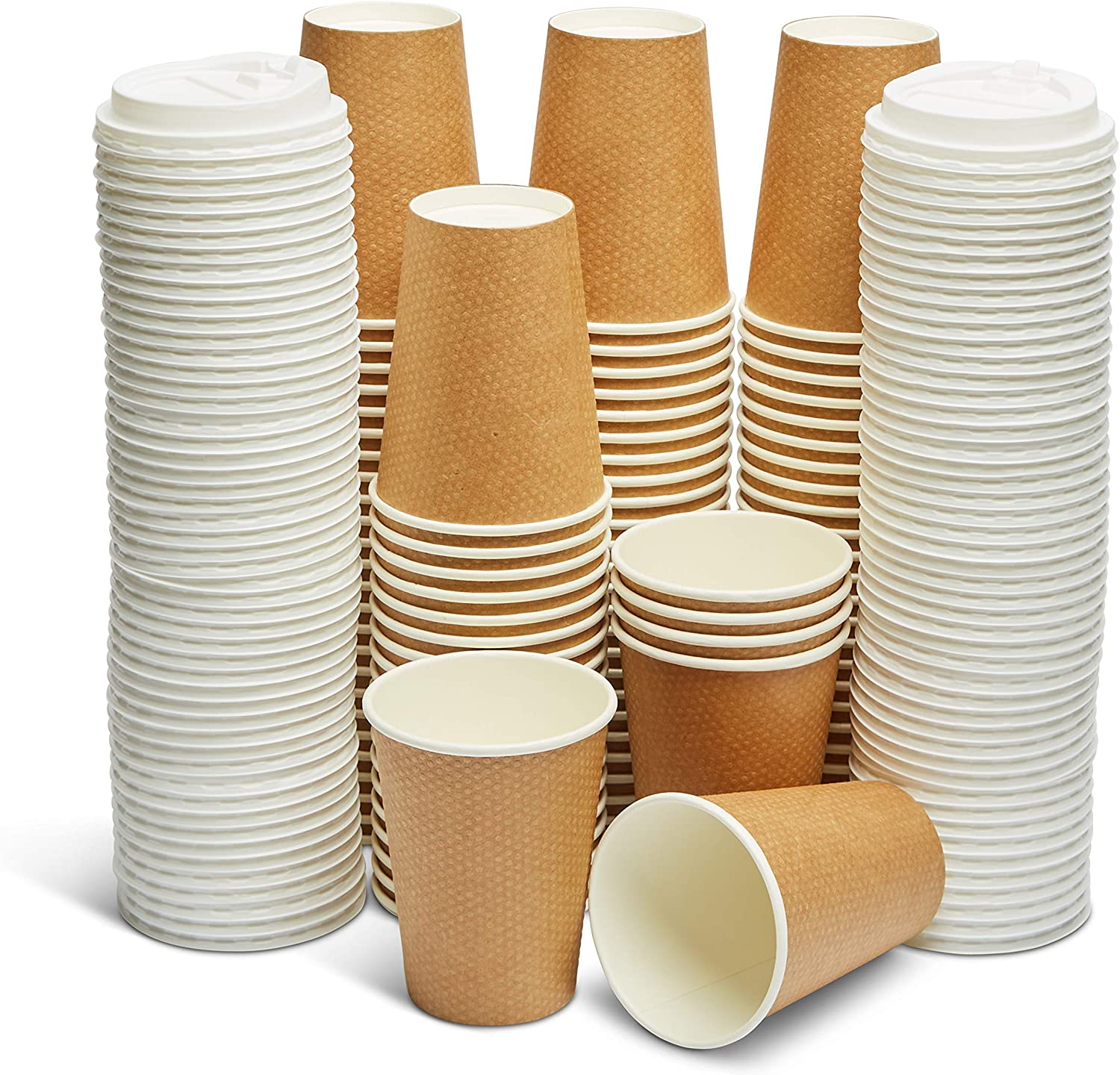 GeeOnyx Biodegradable 12 Oz Coffee Cups - 100 Pack - Resealable Lid - Reusable - Brown on White - Food Safe - Double Insulated Wall - Heavy Paper Cup - Home/Office/Travel - Eco-Friendly