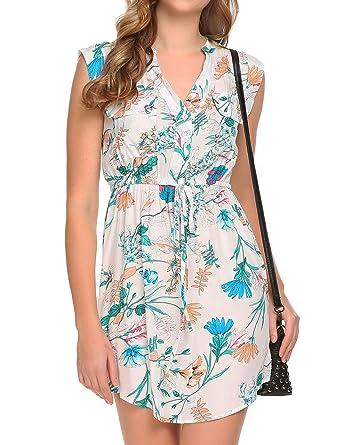 675b50767619 SE MIU Women Sleeveless Button Drawstring V Neck Floral Print Mini ...