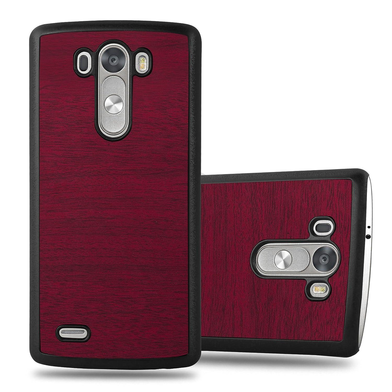 Cadorabo – Hard Cover Slim Case Design BOIS Coque Gel (silicone) pour LG G3 – Housse Case Cover Bumper en WODDY-ROUGE