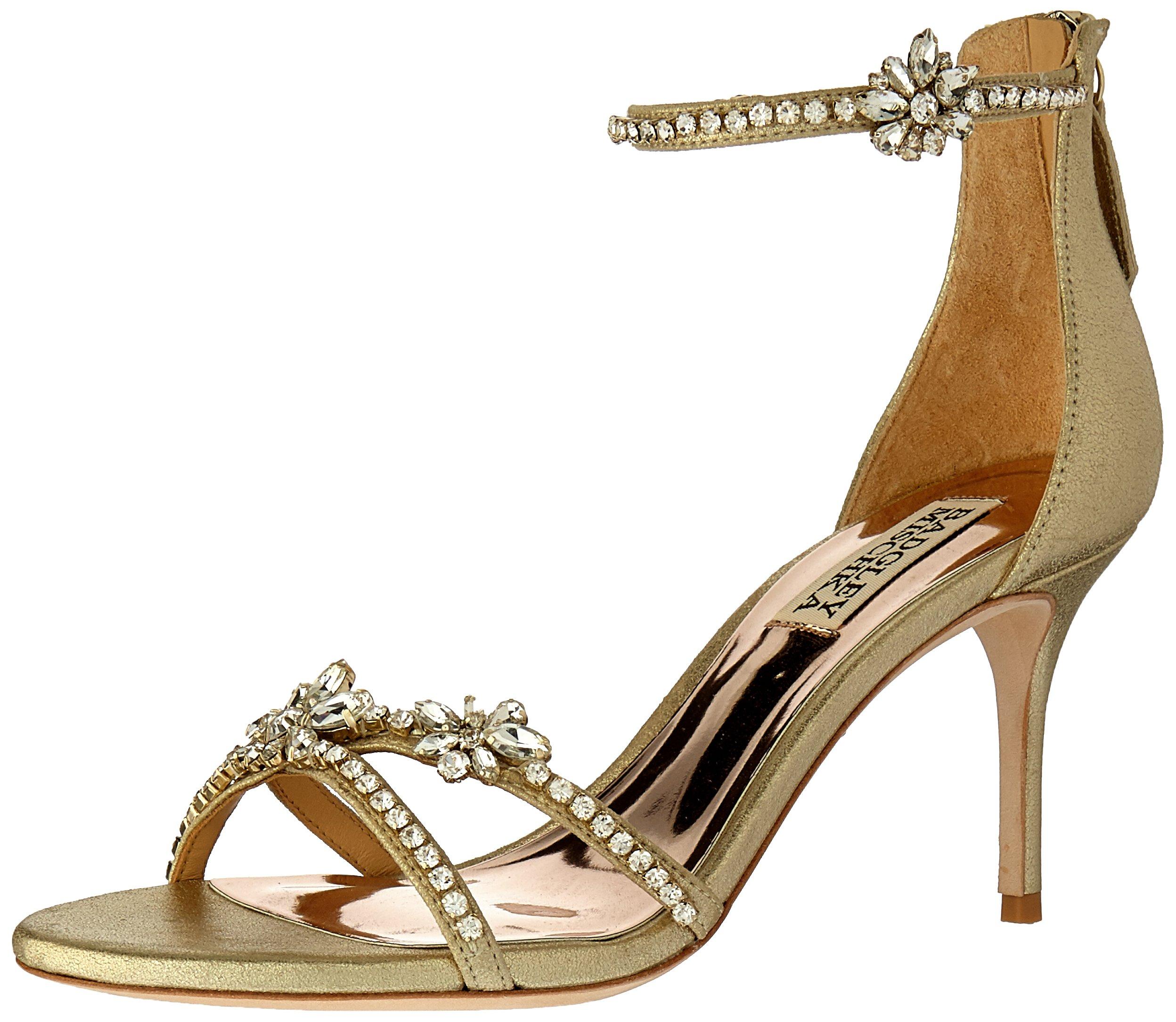 Badgley Mischka Women's Hobbs Heeled Sandal, Platino, 8.5 M US