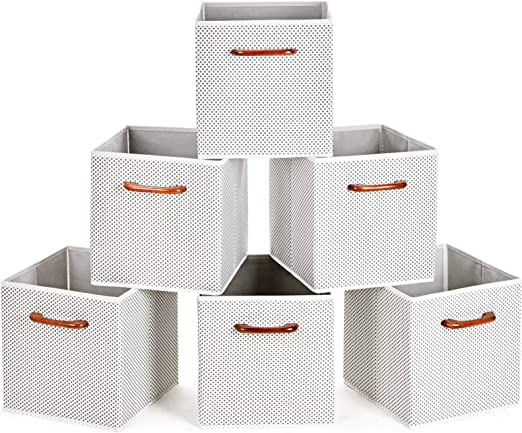 Amazon Com Maidmax Cloth Storage Bins Cubes Baskets Containers With Wooden Handles For Home Closet Bedroom Drawers Organizers Foldable Grey Polka Dot Set Of 6 Home Kitchen