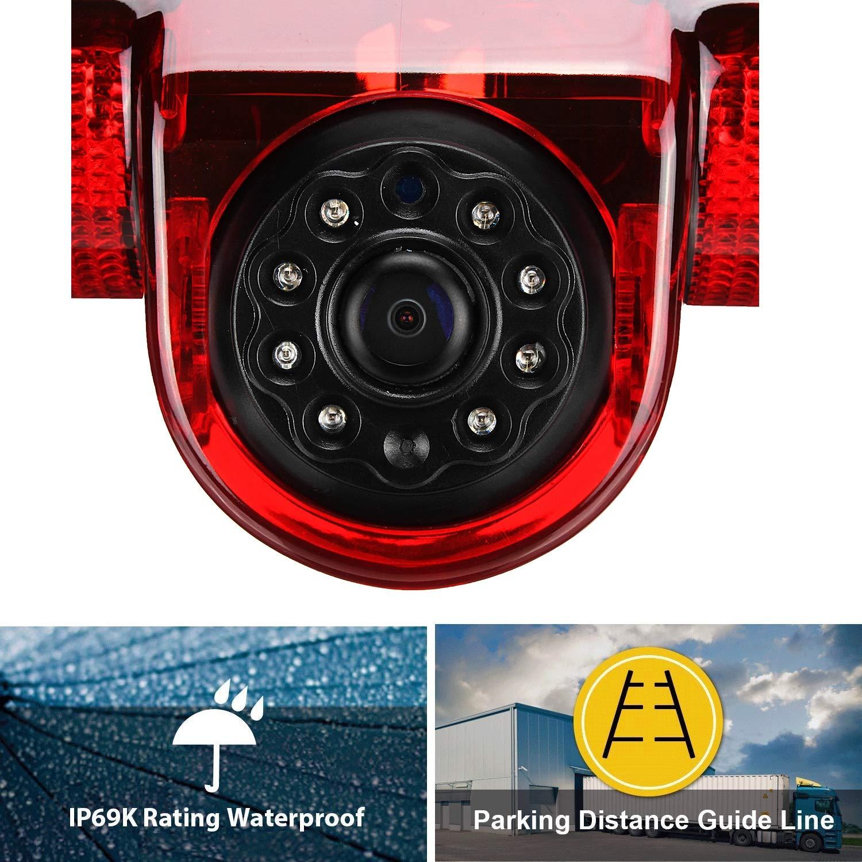 HD 720p Reverse Camera 3rd Brake Light Camera Replacement Rear View Camera Night Vision 700TV Lines for Vauxhall Vivaro X82 Mk3 Opel Vivaro Renault Trafic Nissan NV300 Fiat Talento 2014-2019