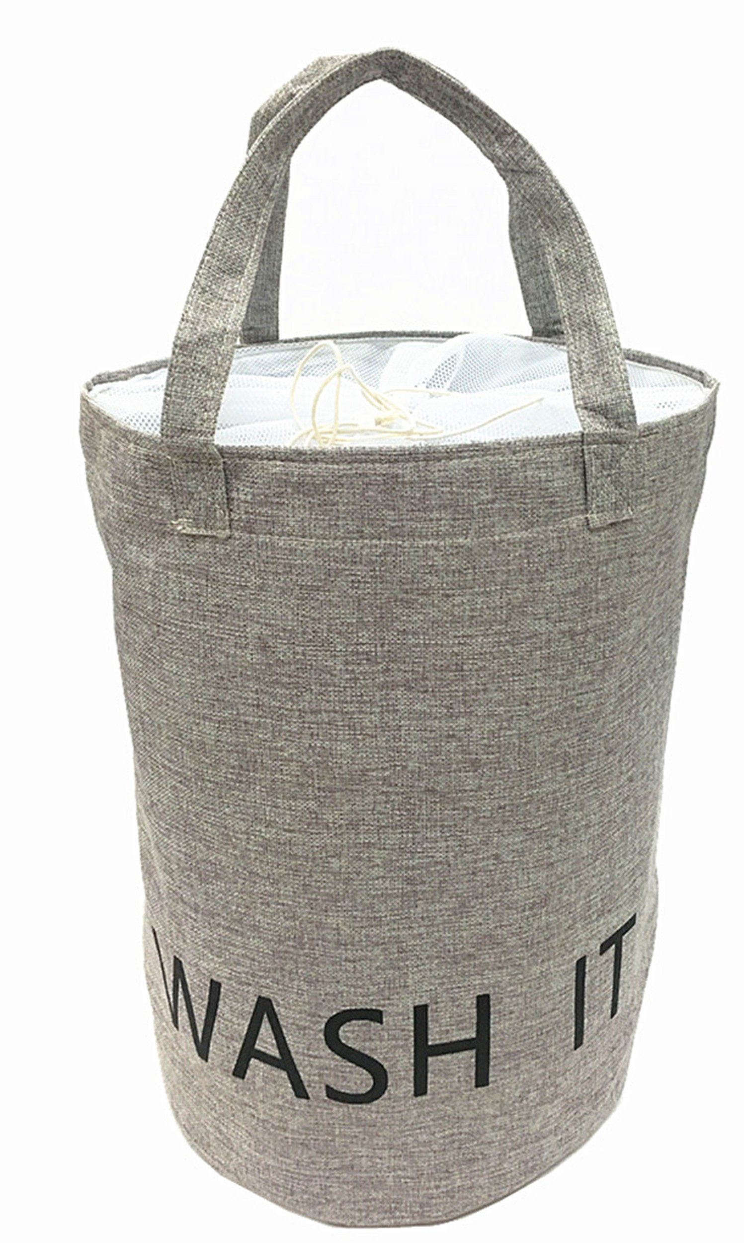 19.7 Inch Large Size 100% Natural Linen Laundry Hamper Laundry Basket With Long Handles Perfect for College Dorms,Kids Room & Bathroom(malange grey)
